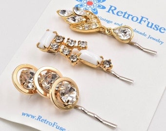 Gold rhinestone hair pins, milk glass rhinestone bobby pins, 1950s vintage weddng hair pin, bridal hair pins,  bridesmaids gift, hair clips