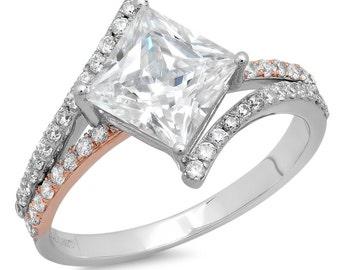 2.35ct Princess Cut Criss Cross Solitaire Engagement Wedding Ring 14k Multi Gold
