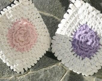 Pair of Vintage White, Pink, Purple Hand Crocheted Potholders Ruffled Petal Reversible Hanging Loop Hot Pad Hot Pad Pan Handle Kettle Baking
