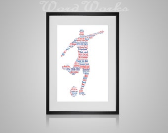 """Personalised Footballer Word Art  **Buy 3 prints get the 4th FREE**  Use coupon code """" MYFREEONE """""""
