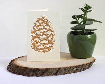 Pine Cone Handmade Linoleum Printed Greeting Card