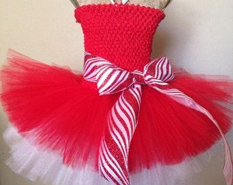 Candy Cane Princes dress, Christmas tutu dress, holiday tutu, Santa pictures outfit,  holiday dress, Christmas outfit, tutu for Christmas
