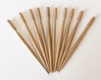 Hambaba wood hair sticks small round 4 1/2 inch. 10 pcs.