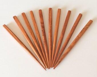 Bayong wood hair sticks small 4 1/2 inch square bayong. 10 pcs. per package.