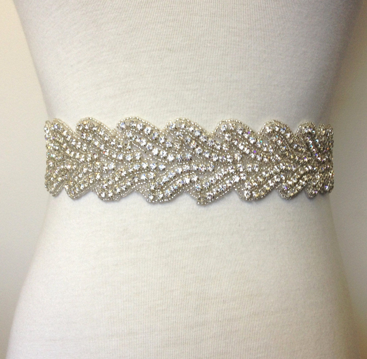 poppy wide rope effect silver rhinestone diamante belt