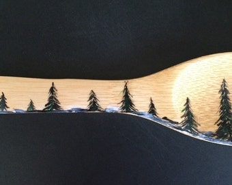 Forest Painting Wooden Spoon