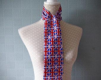 Union Jack scarf, UK patriotic scarf, skinny mod scarf, thin retro scarf, red white blue scarf