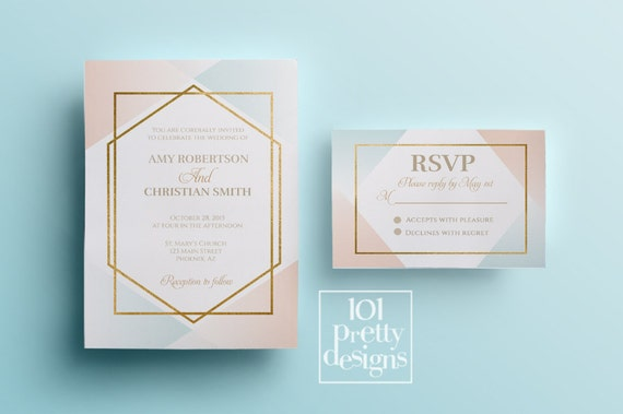 Modern printable wedding invitation ombre elegnat wedding invitation il570xn stopboris Image collections