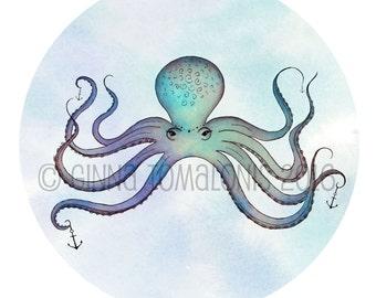 Blue Octopus - 8x8 Original Fine Art Print