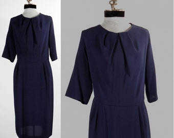 Vintage 1940s navy blue day dress rayon/acetate large/Xlarge