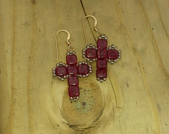 Gold Marbled Siam Ruby Glass Beaded Cross Earrings