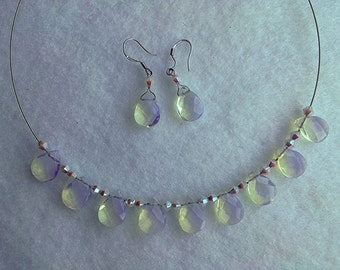 Necklace and earrings moonstone(opalite) and Swarovski crystals