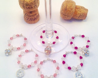Birthday Christmas Sparkle Pink Wine Glass Charms Gift Upcycled (6)