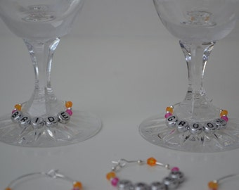 Wedding Guest Party Favour Gift Wine Glass Charms Personalised (each)