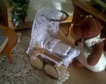 Miniature Fairy dollhouse pram unique