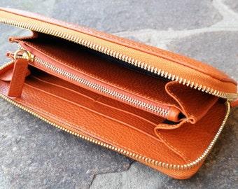 Orange leather wallet. Women