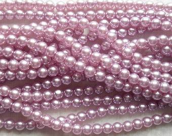 50 6mm lilac, lavender, tanzanite, glass pearl druk beads, light purple Preciosa Czech round, smooth glass pearls C5750