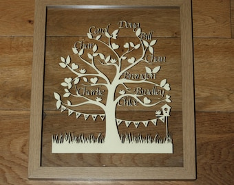 Personalised Family Tree cut from card and framed