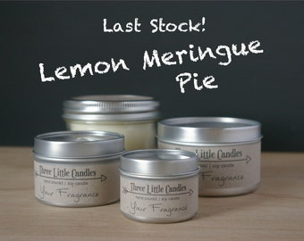 Lemon Meringue Pie Soy Candle - 2oz, 4oz or 8oz Tins or Mason Jar 170g