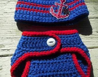 Nautical Themed Boy's Hat & Diaper Cover Set Newborn
