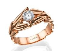 Rose  Engagement Ring, Rose Gold Ring, Diamond solitaire ring, Diamond Ring, Leaves Engagement Ring, Solitaire ring, Wedding Ring, Leaf Ring