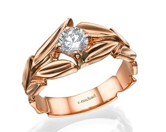 Rose Engagement Ring, Rose Gold Ring, Diamond solitaire ring, Diamond Ring, Leaves Engagement Ring, Solitaire ring, Leaf Ring, Promise Ring