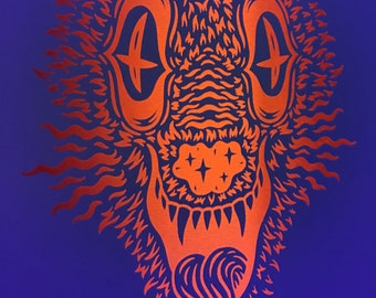 Psychedelic Wolf Color Screen Print (Glows under Black Light)
