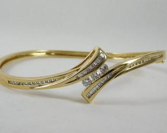 Diamond 14k Yellow Gold Bangle Bracelet