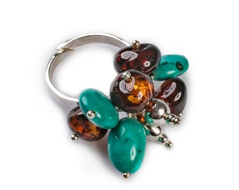 Cherry Amber, Turquoise & Silver Cluster Adjustable Ring