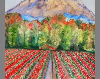 """Original Water color Painting, Tulip Field of BC, Canada, 14""""x11"""""""