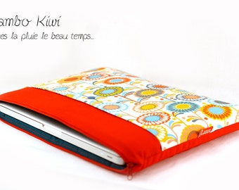 """Red 13 """"15"""" 17 """"laptop cover fabric flowers seventies"""