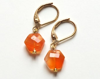 Earrings, Carnelian semi-precious stone