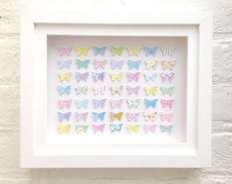 3D butterfly wall art, Unique gifts for women, framed art, nursery wall art, Butterfly art, Papercut art