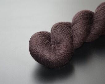 100% merino lace yarn in dark chocolate brown