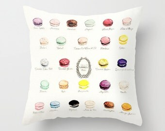 Laduree Macarons Flavor Menu Pillow French Macaron Print Watercolor Pillow Paris Pillow French Home Decor Decorative Throw Pillow Cover