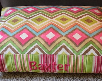 Zoey Dog Bed * Large * HGTV Modern Geometric Ikat Fabric * Custom Cover * Beautiful * Personalize with Pups Name * Pillow * TSD