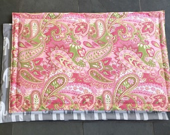 Paisley Dog Training Mat ||  Pink Green Elephants Large Crate Dogbed || Personalized Custom Kennel Mat || Puppy Gift by Three Spoiled Dogs