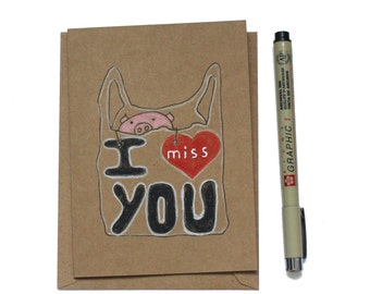 Miss you card/ long distance relationship card/ thinking of you boyfriend/ miss you card girlfriend/ long distance relationship card/