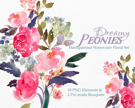 Digital Clipart- Watercolor Flower Clipart, peonies Clip art, Floral Bouquet Clipart, wedding flowers clip art- Dreamy Peonies