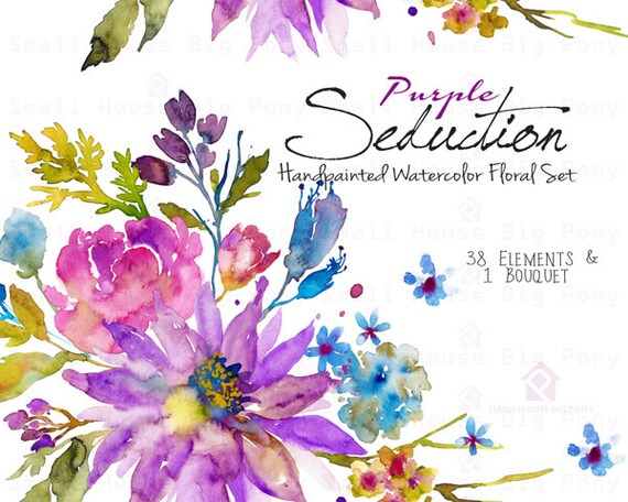 Purple Watercolor Flowers CLIPART- Handpainted flowers, Wedding Florals, Wedding Invitations,  Watercolor Flowers- Purple Seduction Elements