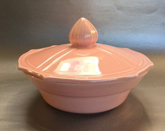 Miramar of California Pink Vintage Pottery Covered Casserole Dish