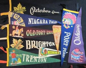 Vintage Felt Travel Pennants - Ontario - Port Perry, Oshawa, Brighton, Trenton, Bobcaygeon, Fort Erie, Peterborough, Niagara Falls