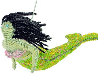 Glass Beaded Mermaid Figurine - Available in 5 color schemes - Wireworx Collectible Mermaid Ornaments