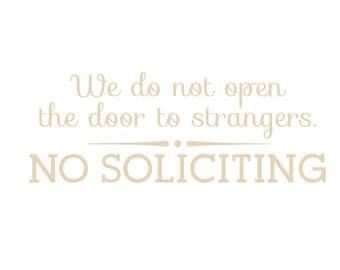 No Soliciting Decal - Door Decal - Vinyl Lettering - Door Lettering - Front Door Sign - Door Soliciting Sign - Front Door Decal