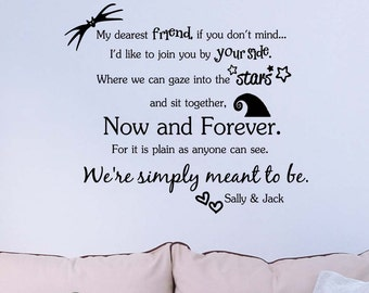 My dearest friend if you don't mind We are simply meant to be Nightmare before Christmas inspirational wall decal sticker wall decor