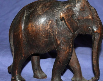 Vintage Hand Carved Wood Elephant Figurine