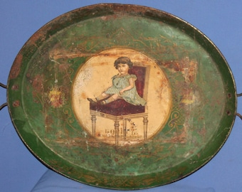 Antique Metal Serving Tray With Lithography Of Young Kong Boris III