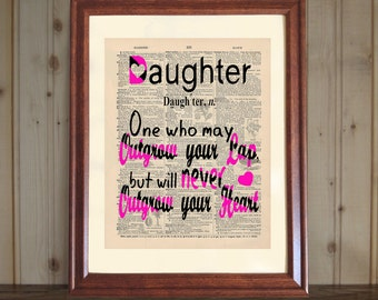 Daughter Dictionary Print, Quote about Daughters, Father to Bride Gift, Mother to Daughter Gift, Daughter Print on 5x7 or 8x10 Canvas Panel