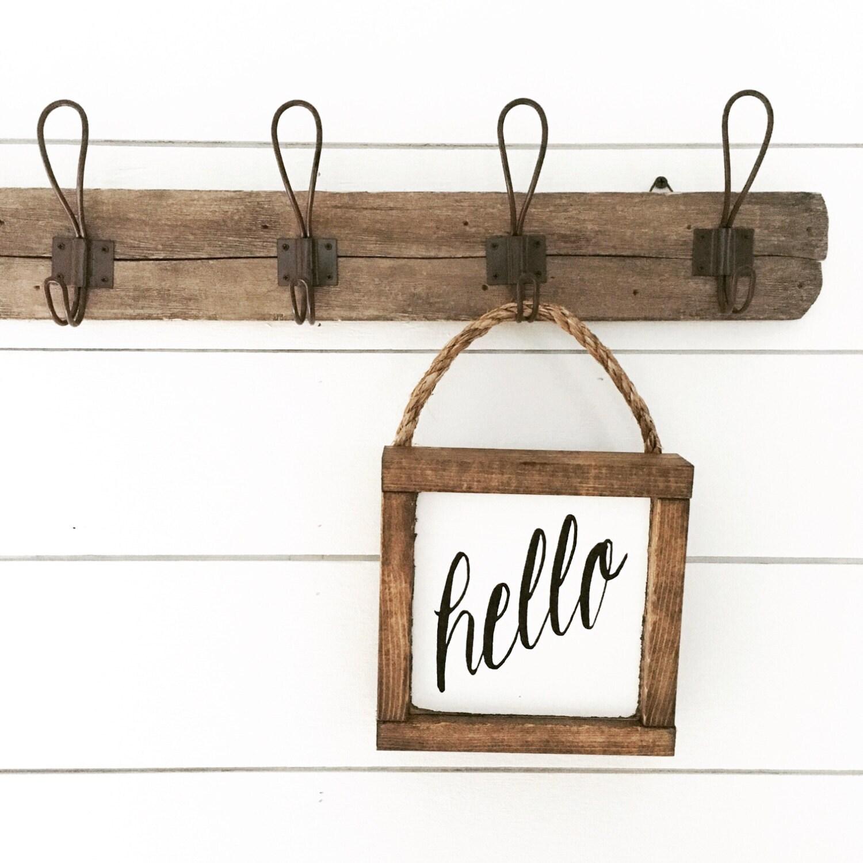 hello sign wooden sign hanging sign by backroadsigncompany. Black Bedroom Furniture Sets. Home Design Ideas