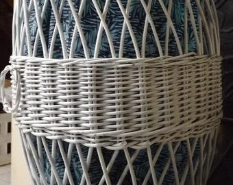 Independence DAY SALE White wicker vintage hamper over sized basket with liner storage decor